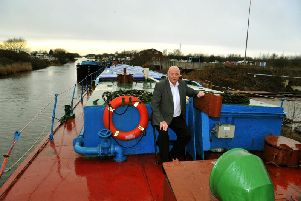 John Branford, from Goole, on one of his three barges, Farndale, moored at Goole