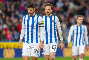 New Huddersfield Town signing Richard Stearman (right) and captain Chris Schindler (left). PICTURE: TONY JOHNSON.