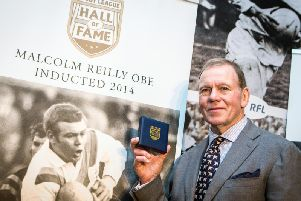 Great Britain star Malcolm Reilly OBE is inducted into the Rugby League Hall of Fame in 2014. (Alex Whitehead/SWpix.com)