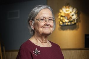 Lady Hale in the mock court room at Bradford University. Picture: Tony Johnson.