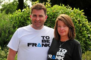 14 year old Frank Ashton from Harrogate died last year from a rare form of cancer.'Pictured Frank's parents Mike and Louise Ashton at the walk.'Picture Gerard Binks