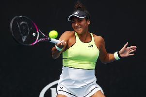 Heather Watson plays a forehand against Karolina Pliskova  on her way to victory in Melbourne. Picture: Mike Owen/Getty Images