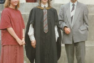 Giles with his parents graduating from Swnasea University in 1994