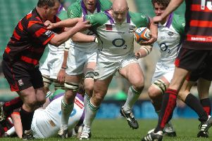 Rob Rawlinson makes a break in the EDF Energy National Trophy final for the then-named Leeds Carnegie agaisnt Moseley at Twickenham in April 2009. PIC: Steve Riding