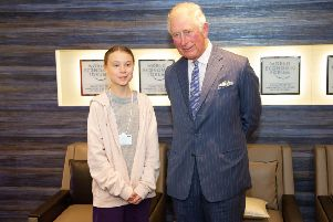 The Prince of Wales in Davos with teenage climate change activist Greta Thunberg.