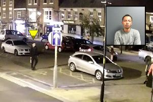 A CCTV image showing the machete in Fitzgerald's right hand and, inset, Fitzgerald's police mugshot. Credit: North Yorkshire Police