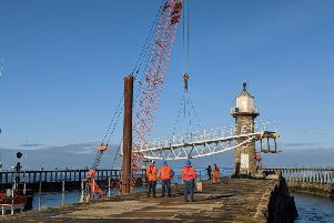 The bridge being lifted into place. Credit: Scarborough Council