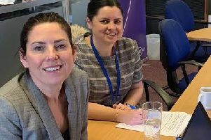 Louise Palmer, sales manager at BT Local Businesses in Sheffield, signs up to an Apprenticeship Service account with the help of Vicki Eadson, business development officer at The Source Skills Academy