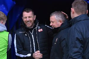 Millwall manager Gary Rowett with Sheffield United's Chris Wilder at The Den, London. Picture: Robin Parker/Sportimage