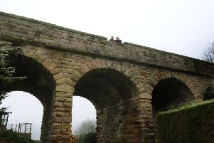 This old viaduct on the Harrogate to Church Fenton still stands in a family's back garden in Spofforth