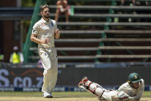 HIGH TIMES: Chris Woakes, left, watches South Africa's batsman Rassie van der Dussen evades a bouncer on day four at the Wanderers. Picture: AP/Themba Hadebe