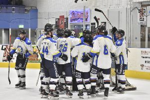 Leeds Chiefs' players celebrate their overtime win at leaders Telford Tigers. Picture courtesy of Steve Brodie.