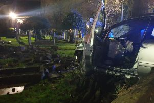A drink driver crashed into a graveyard. Photo provided by West Yorkshire Police Roads Policing Unit.