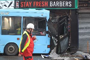 The scene of the bus crash in Sheffield. PA photo.