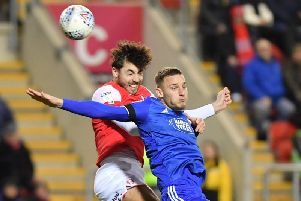 Matt Crooks wins a header during Rotherham United's League One victory over Ipswich Town. Picture: Keith Turner