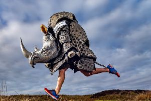 .'Children's author and chairty fundraiser Chris Green, of  Embsay, near Skipton, has been dubbed 'Rhino Boy' as he has pledged to run 40 marathon and other events dressed as a Rhino to raise money for Save the Rhino.'Picture James Hardisty.