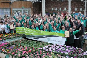 Staff at Barton Grange Garden Centre celebrate winning the title of Destination Garden Centre of the Year for 2019 from the Garden Centre Association