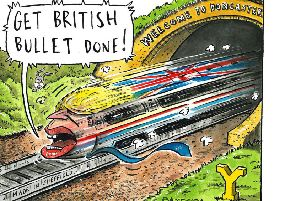 Cartoonist Graeme Bandeira's depiction of the 'British Bullet' as Ministers prepare to endorse high-speed rail.