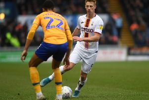 Eoin Doyle, pictured in his last outing for Bradford City at Mansfield Town. PICTURE: JONATHAN GAWTHORPE.