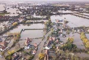 The village of Fishlake, Doncaster, submerged under flood water. Photo: SWNS