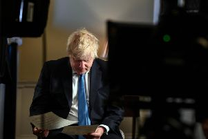 Boris Johnson recording his Brexit address to the nation. Photo: Downing Street