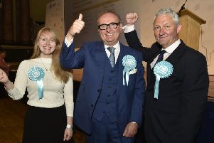 Brexit Party MEPs Jake Pugh (right), Lucy Harris and John Longworth when elected in May 2019. Ms Harris and Mr Longworth later left the party. Photo: JPI Media