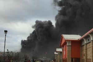 Thick smoke billowing from the fire at Speedibake in Wakefield