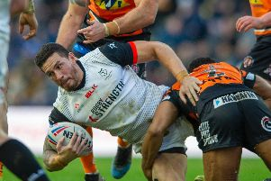 Toronto's Sonny Bill Williams is downed by the Castleford defence, (TONY JOHNSON)