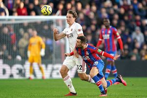 Sheffield United's Sander Berge (left) and Crystal Palace's James McArthur battle for the ball.