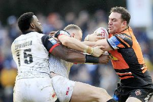 Castleford Tigers' Grant Millington in action against Toronto.