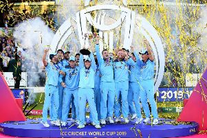LONDON, ENGLAND - JULY 14:  Eoin Morgan of England celebrates with his team as he lifts the Cricket World Cup trophy at Lord's last summer . Picture: Clive Mason/Getty Images