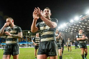 Hull FC's Jake Connor thanks the fans after victory over Leeds. Picture: Allan McKenzie/SWpix.com