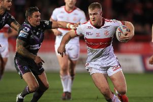 RELIEF: Wakefield's Danny Brough attempts to tackle Hull KR's Dan Murray. Picture: Mike Egerton/PA