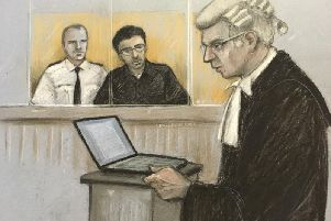 Duncan Penny QC on his feet as Hashem Abedi, younger brother of the Manchester Arena bomber, sits in the dock at the Old Bailey. Picture: Elizabeth Cook/PA Wire