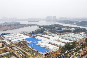 The Huoshenshan temporary field hospital under construction is seen as it nears completion in Wuhan in central China's Hubei Province.