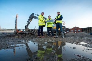 (L-R) Ian Hayfield of Hayfield Robinson, Bill Horsley of Horsley Townsend and James Turner of Turner Developments at 'Foundry Park, Keighley.
