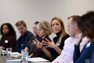 Financial inclusion roundtable at RSM UK, Central Square, Leeds. Laura Mason from Leeds Community Foundation. Picture Jonathan Gawthorpe 5th February 2020.