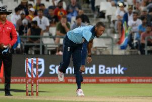 BACK IN THE GROOVE: England's Chris Jordan bowls during Tuesday's ODI defeat to South Africa. Picture: Rodger Bosch/AFP via Getty Images)