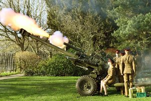 The Thirsk based 4th Regiment Royal Artillery fire  a 21 gun salute   to celebrate HM the Queen's  Accession to the throne in the Yorkshire Museum Gardens in York.