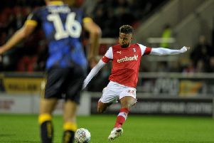 Rotherham United winger Julie Lamy in action in the EFL Trophy game with Doncaster Rovers.