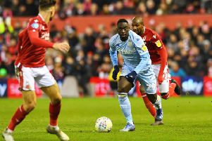 Debutant: United's Jean-Kevin Augustin gets on the ball. 'Picture: Jonathan Gawthorpe