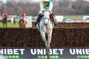 Vintage Clouds powered to victory in the Peter Marsh Chase at Haydock under Danny Cook. Photo: Haydock Park Racecourse.