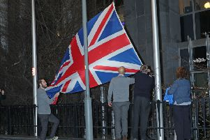 The Union flag is taken down outside the European Parliament in Brussels, Belgium.