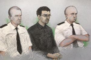 A court artist's sketch of Hashem Abedi, younger brother of the Manchester Arena bomber, in the dock at the Old Bailey in London. Picture: Elizabeth Cook/PA Wire
