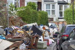 A lorry-load of fly-tipped waste found dumped outside a nursing home in Sheffield in April 2019. Picture: Scott Merrylees