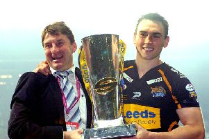 GOOD TIMES: Tony Smith and Kevin Sinfield with the Super League Grand Final trophy at Old Trafford back in 2007. Picture: Jonathan Gawthorpe.
