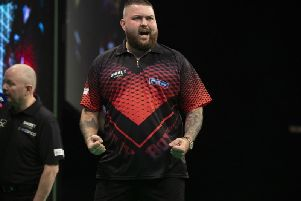Michael Smith drew 6-6 with Gerwyn Price in Nottingham. Picture: Pdc.tv