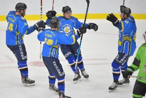 Lewis Baldwin celebrates his overtime game-winning goal against Hull Pirates. Picture: Dean Woolley.