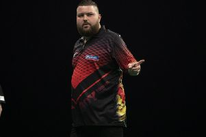 Michael Smith in action in Cardiff. Picture: PDC.TV