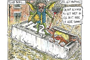 There is growing public and political frustration at the Governments response to the floods. Cartoon: Graeme Bandeira.